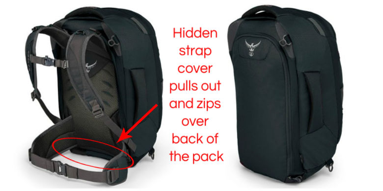 Osprey Farpoint 40 Review: Strap cover zips over back